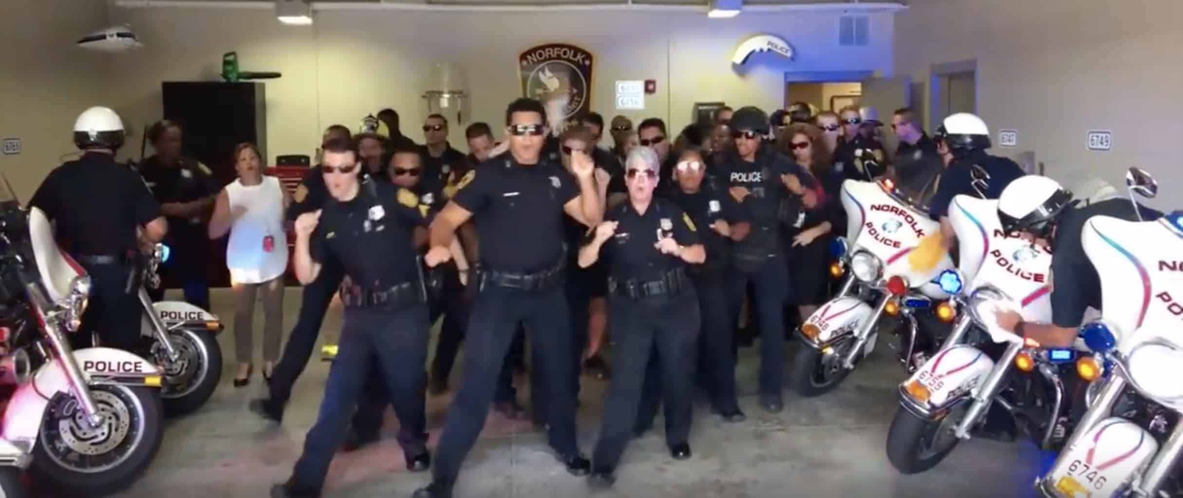 police dance to uptown funk