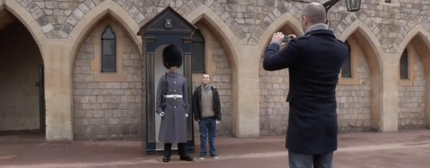 Sam, the young man with Down syndrome at Windsor Castle got to see his brother in action as one of the Queen's Guards