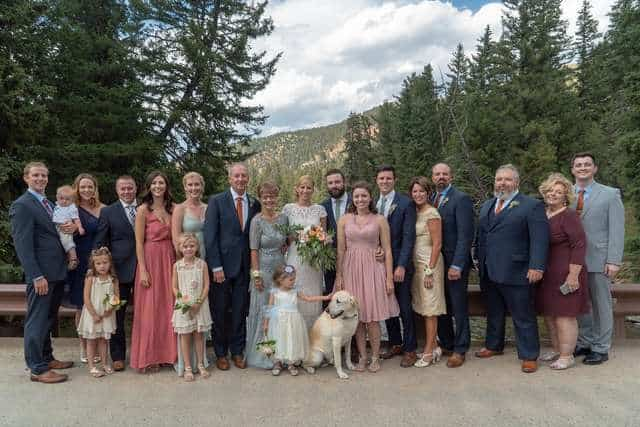 dog photobombs wedding photo