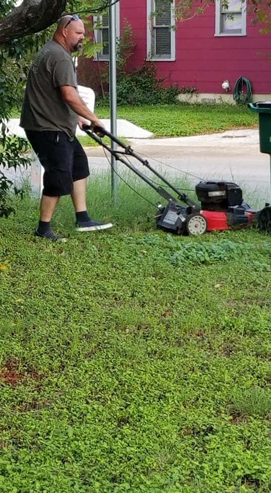 mows ex-wife's lawn