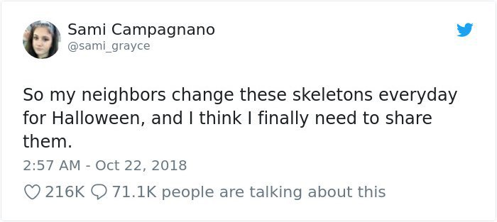 Halloween skeletons tweet