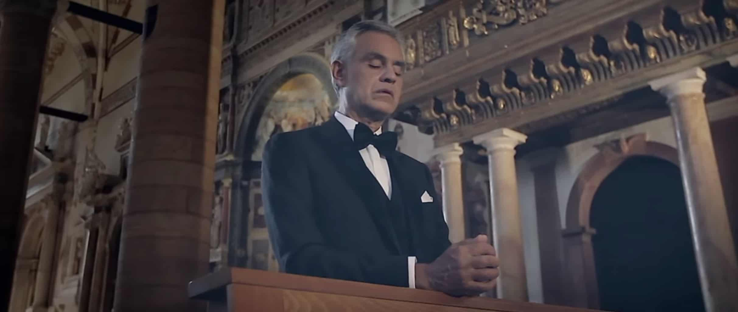 Andrea Bocelli and Aida Garifullina sing 'Ave Maria Petas' in a church