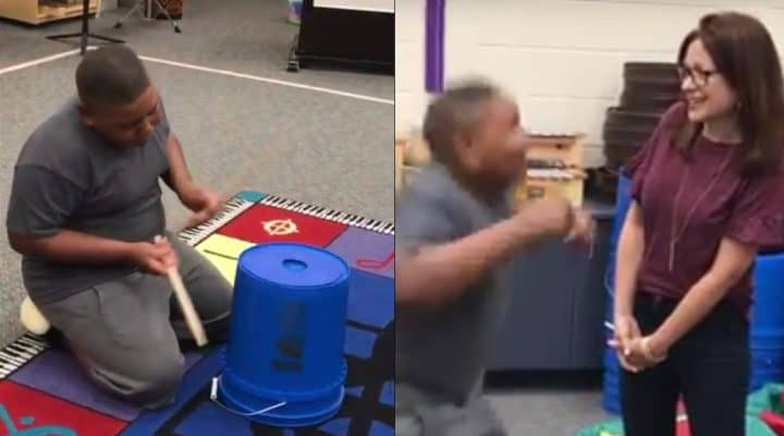 teacher surprises student with drums