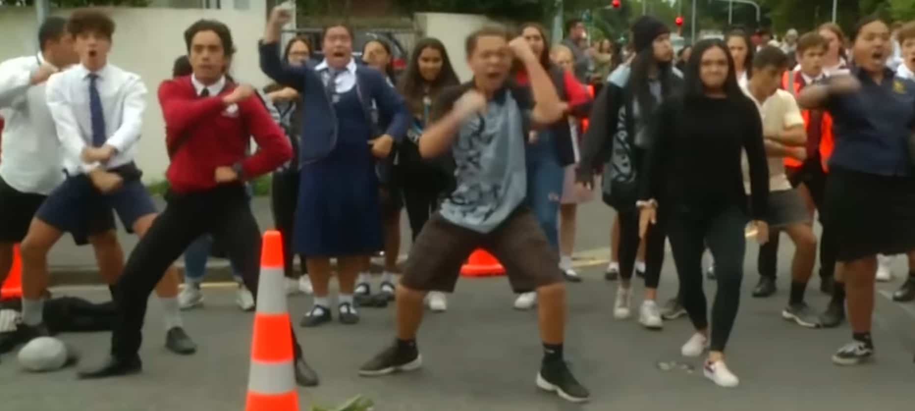 students perform haka