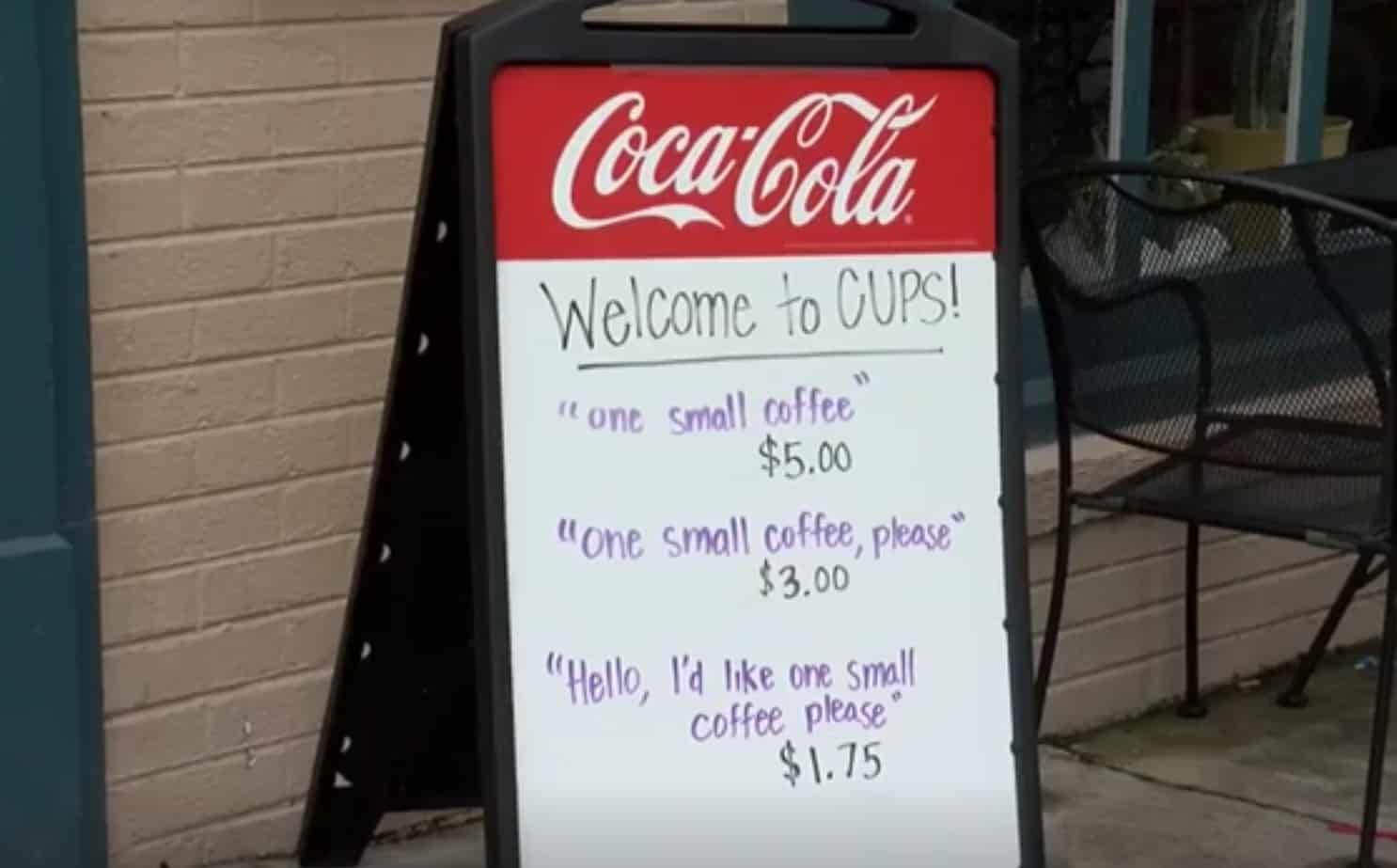 Cafe owner rewards customers for politeness