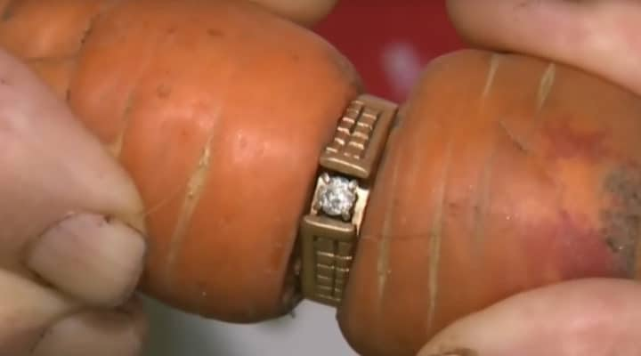 lost diamond engagement ring appears on carrot